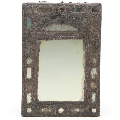 Embossed Tin and Paper Hanging Accent Mirror