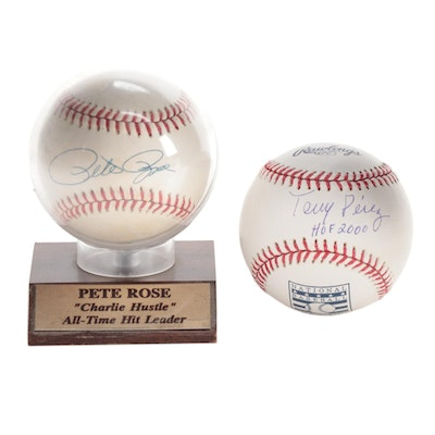 Pete Rose and Tony Perez Single Signed Baseballs  COA