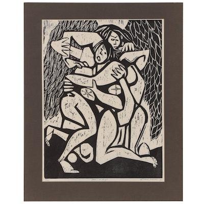 "Leonard Maurer Woodcut ""Jacob & the Angel"", 1970"