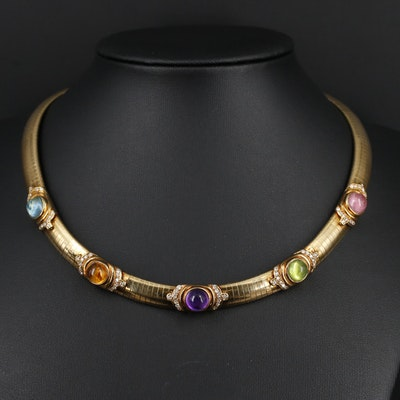 18K Yellow Gold Omega Necklace with Multiple Gemstone and Diamond Stations