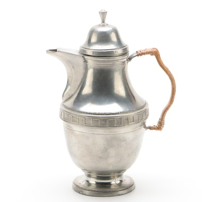 Pewter Pitcher with Wicker Wrapped Handle and Dentil Molding