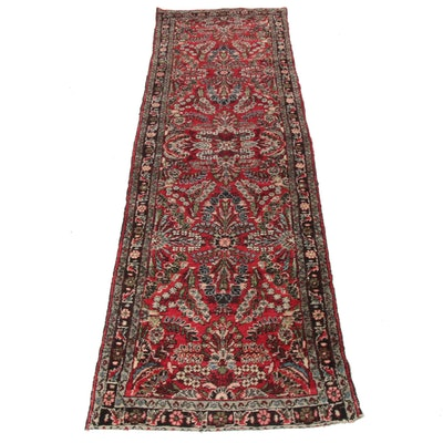 2'9 x 9'10 Hand-Knotted Persian Lilihan Runner, 1920s