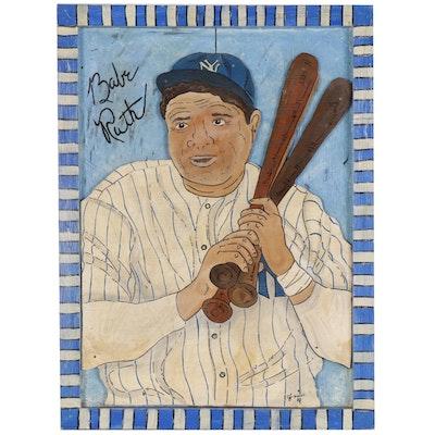 """Eric Cunningham Folk Art Acrylic Painting """"Babe Ruth"""""""