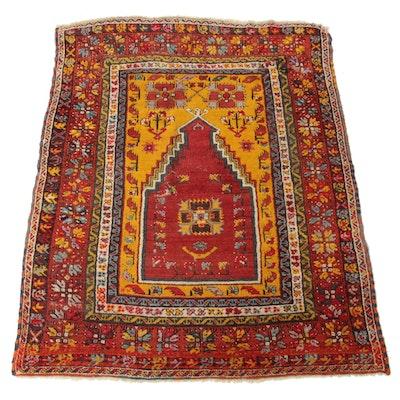 4'1 x 5'5 Hand-Knotted Turkish Village Rug, 1920s