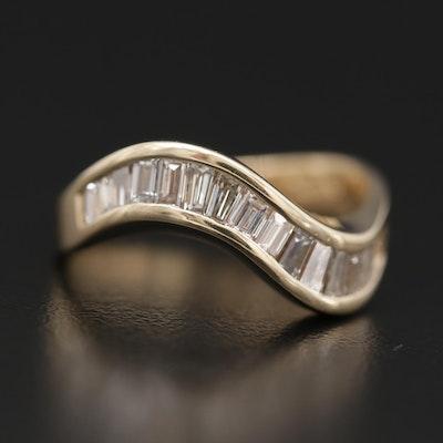 14K Yellow Gold Diamond Wave Ring