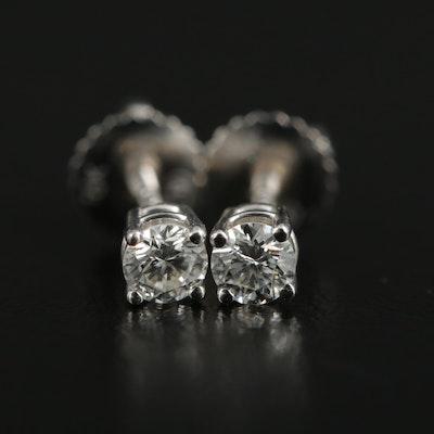 18K White Gold 0.28 CTW Diamond Solitaire Stud Earrings
