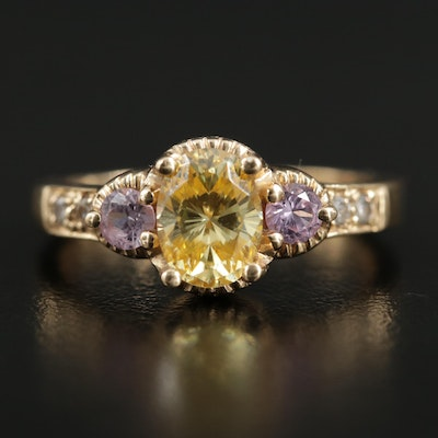 14K Yellow Gold Cubic Zirconia and Synthetic Pink Sapphire Ring