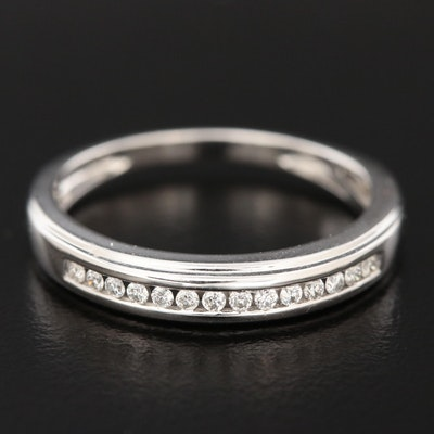 Shy Creations 14K White Gold Diamond Channel Band