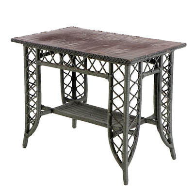 Painted Wood and Wicker Patio Dinette Table, Late 20th Century
