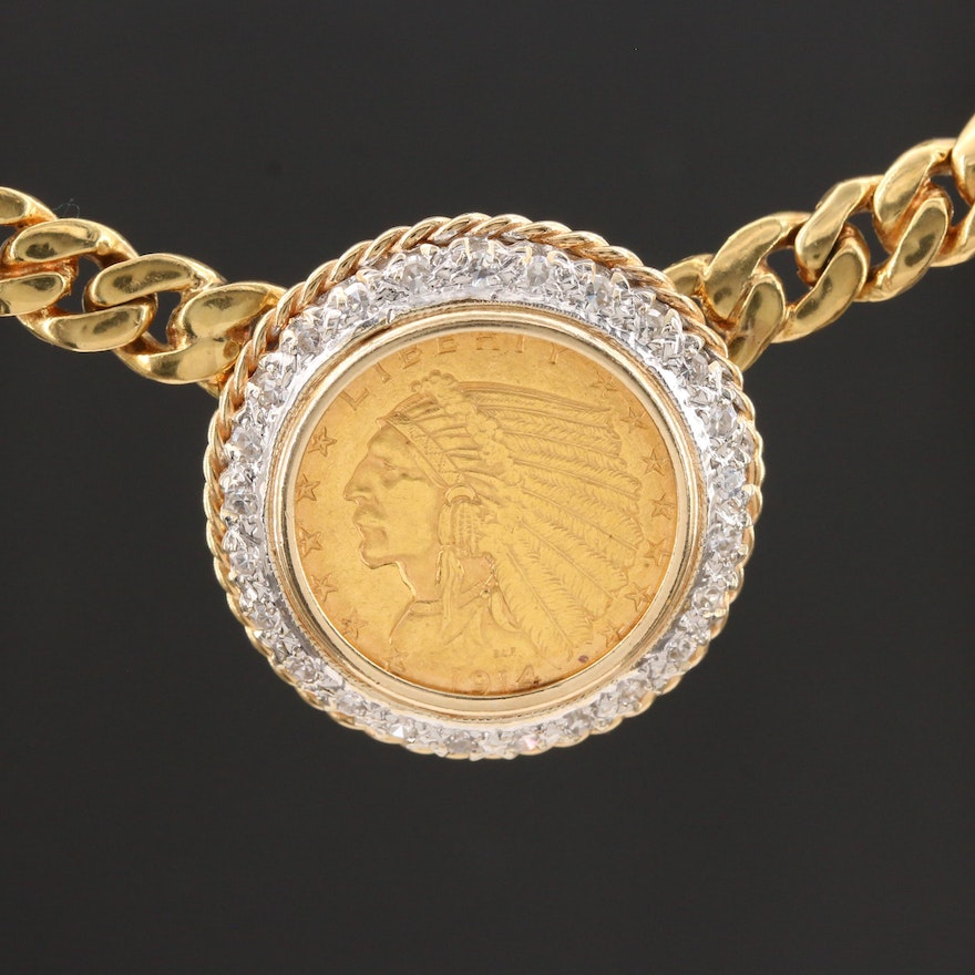 14K Diamond and 1914 Indian Head Eagle Coin Necklace with White Gold Accents