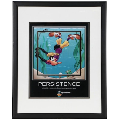 """Giclée Motivational Poster Featuring Daffy Duck """"Persistence"""""""