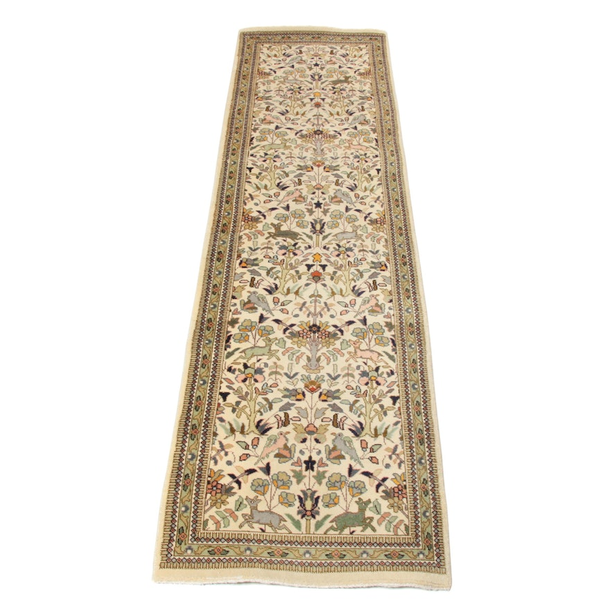 2'6 x 9'3 Hand-Knotted Persian Tabriz Taba Taba Pictorial Runner, 1970s
