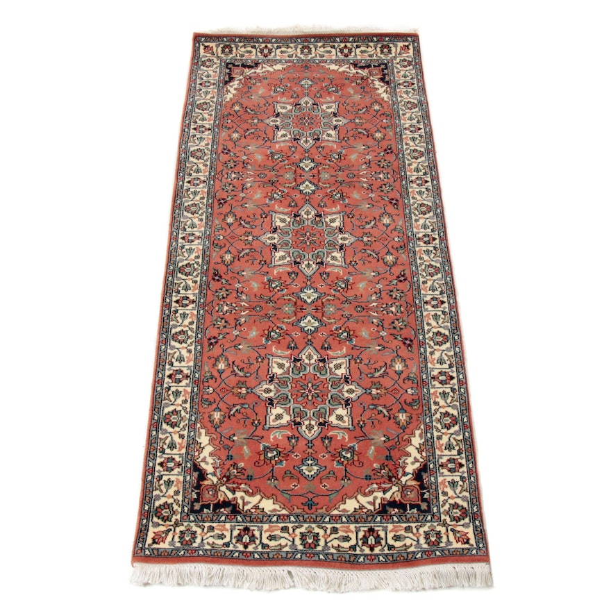 2'6 x 6' Hand-Knotted Indo-Persian Heriz Rug Runner, 2000s