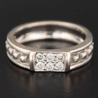 Judith Ripka 18K White Gold Diamond Texture Ring