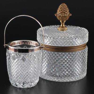 French Ormalu-Mounted Diamond Point Glass Box and Other Pressed Glass Jar