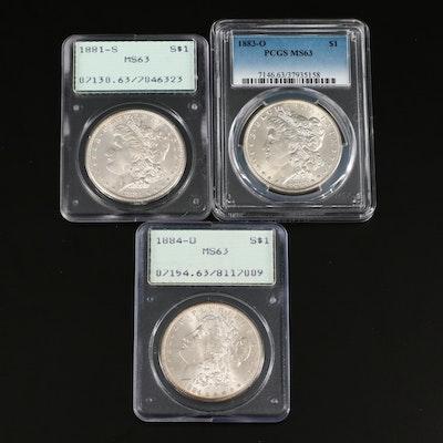 1881-S, 1883-O, and 1884-O PCGS Graded MS63 Silver Morgan Dollars