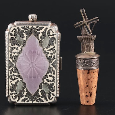 Austrian Guilloché Enamel and Sterling Compact With 800 Silver Bottle Stopper