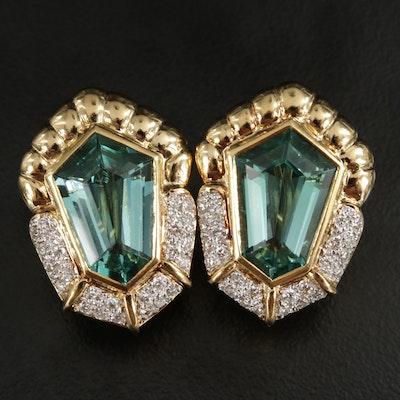 18K Yellow Gold Cubic Zirconia and Diamond Earrings