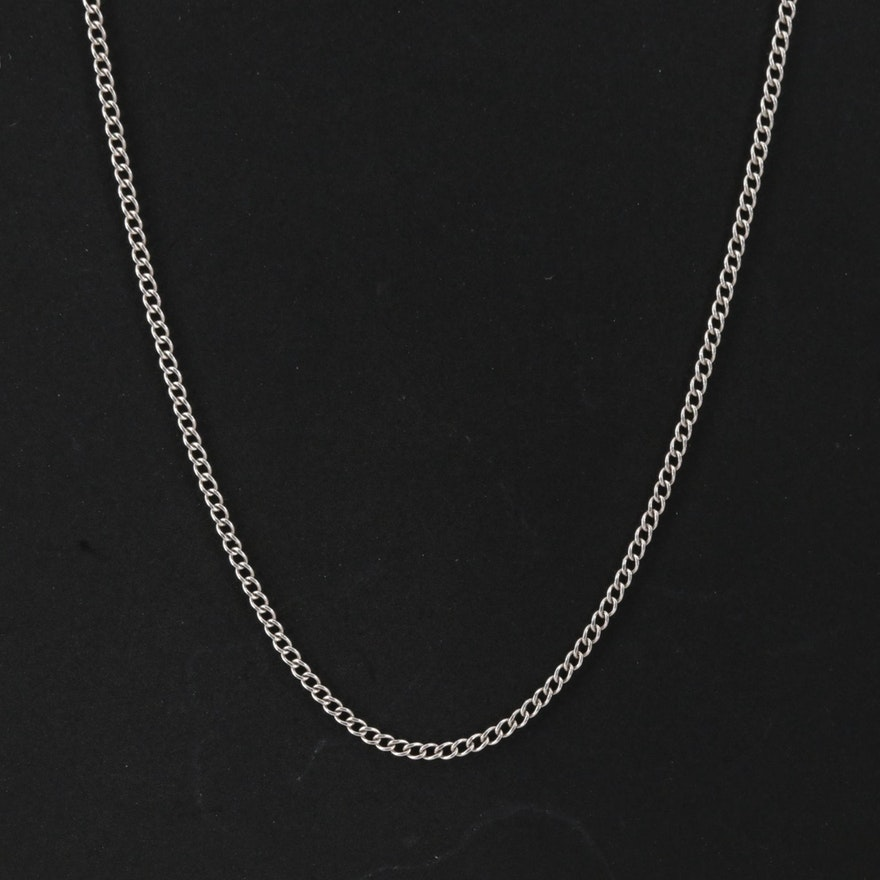 14K White Gold Curb Link Necklace