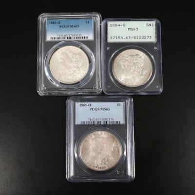 1883-O, 1884-O, and 1885-O PCGS Graded MS63 Silver Morgan Dollars