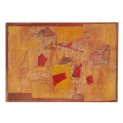 Ronald Ahlström Abstract Mixed Media Collage, 1973