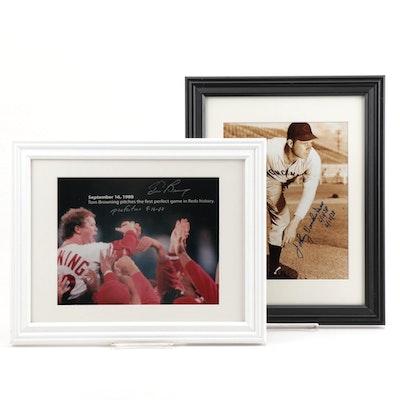 Tom Browning and Johnny Vander Meer Signed and Inscribed Pictures, Framed
