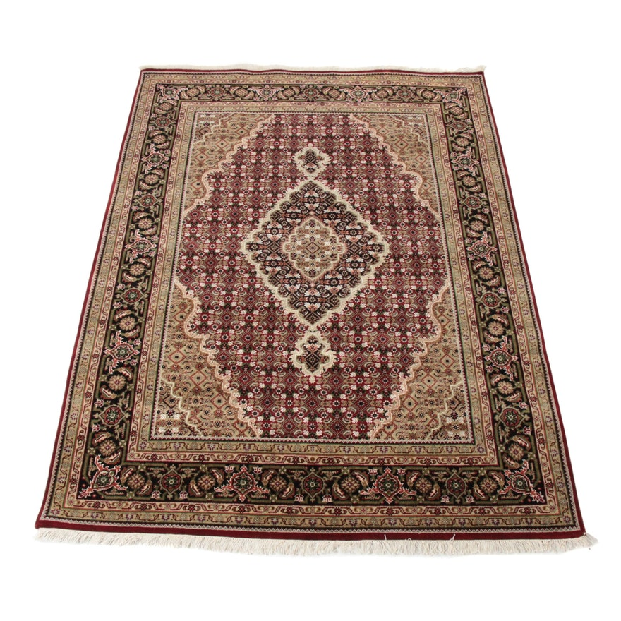 4'11 x 6'11 Hand-Knotted Indo-Persian Tabriz Silk and Wool Blend rug, 2010s