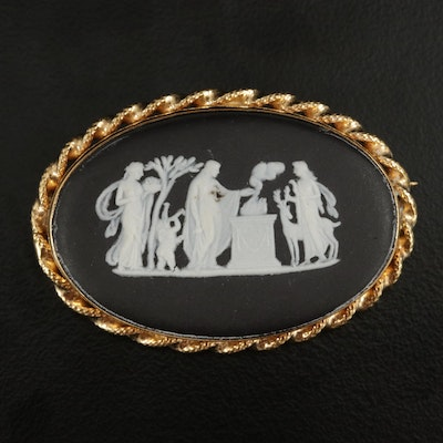 Wedgwood 14K Yellow Gold Jasperware Cameo Brooch