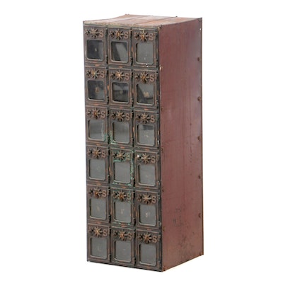 Metal Postal Box Cabinet, Early to Mid 20th Century