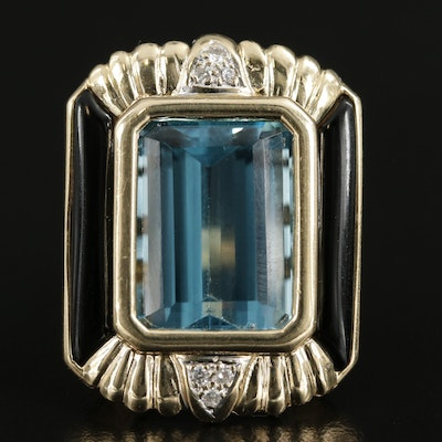 14K Yellow Gold 12.53 CT Blue Topaz, Diamond and Glass Ring