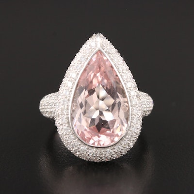 18K White Gold 7.06 CT Morganite and 1.47 CTW Diamond Ring