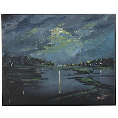 "Douglas ""Bumo"" Johnpeer Oil Painting ""Moon Glow"""