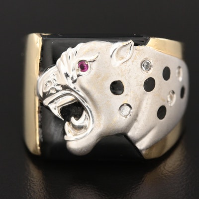 14K Yellow Gold Synthetic Ruby and Cubic Zirconia Jaguar Ring