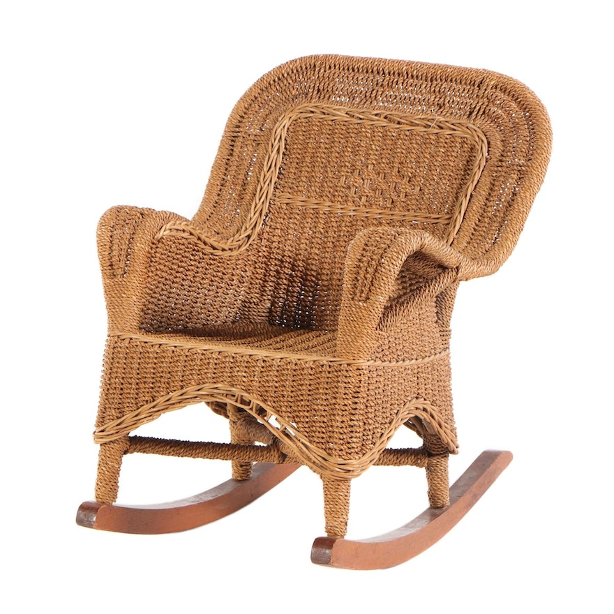 Seagrass Woven Child's Rocking Chair, Early 20th Century