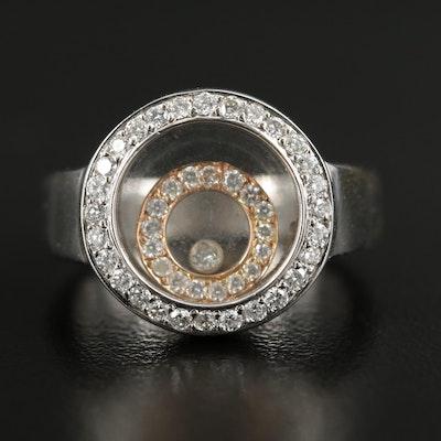 18K White Gold Floating Diamond Double Halo Ring