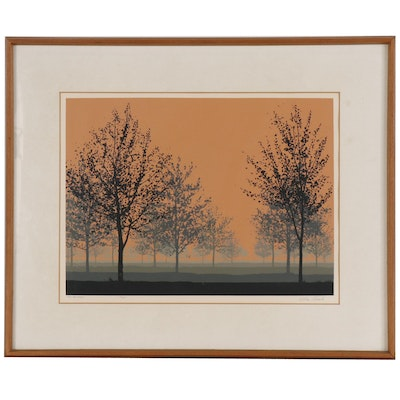 "Wilbur Streech Serigraph ""The Orchard"", Mid to Late 20th Century"