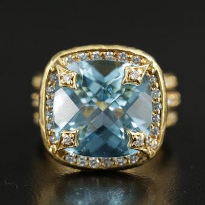 18K Yellow Gold Topaz and 1.07 CTW Diamond Statement Ring
