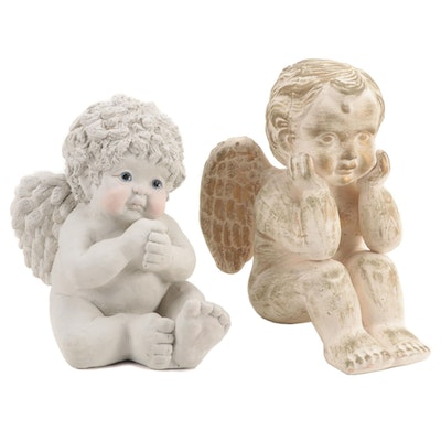Kristin Haynes Dreamsicles Plaster Cherub and Other Ceramic Cherub