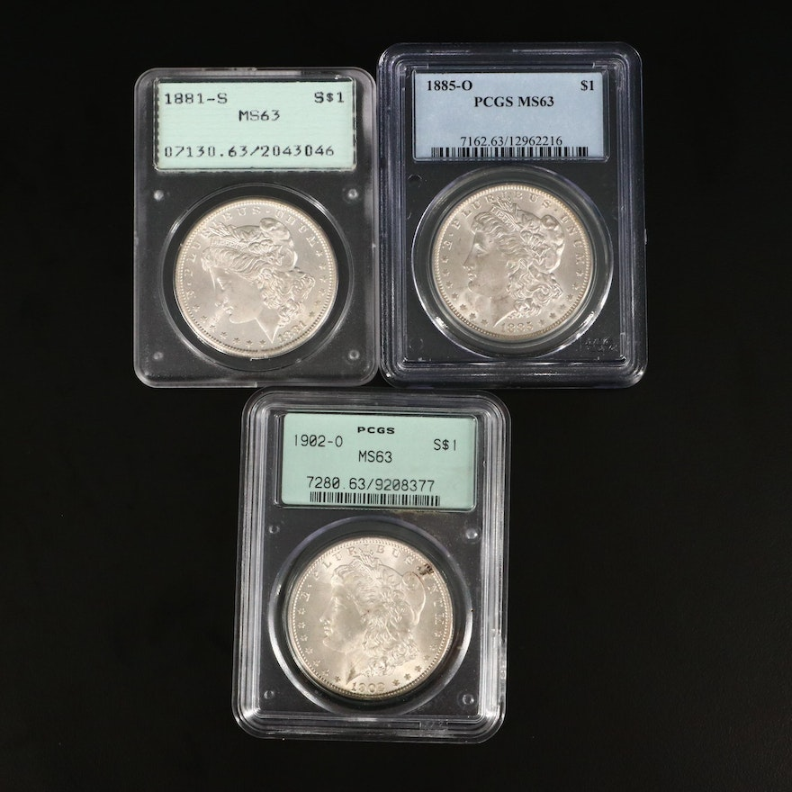 1881-S, 1885-O, and 1902-O PCGS Graded MS63 Silver Morgan Dollars
