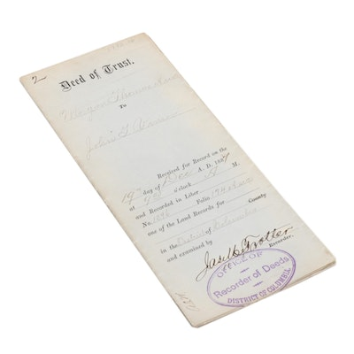Deed of Trust Document Signed by James M. Trotter, District of Columbia, 1887