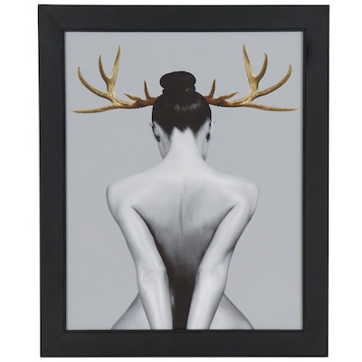 Female Nude with Antlers Giclée