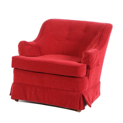 Reupholstered Red Button Tufted Club Chair, Mid-20th Century