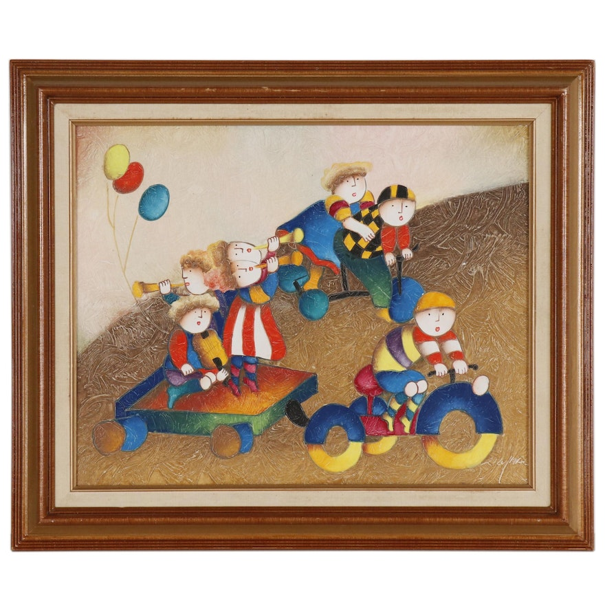 Joyce Roybal Oil Painting of Playing Children