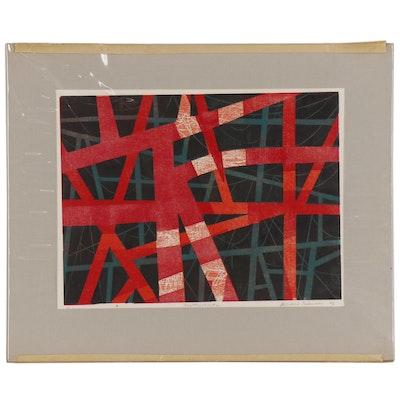 "Leonard Maurer Woodcut ""Construction #2"", 1967"