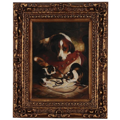 Oil Painting of Hound Dog and Puppies, Late 20th Century