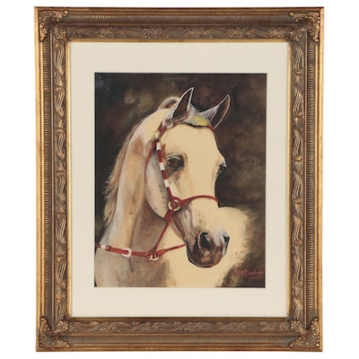 M.D. Chambers Watercolor Portrait of White Horse, 1977