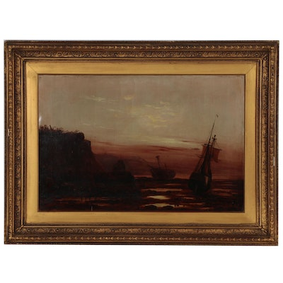Tonalist Oil Painting of Harbor Scene
