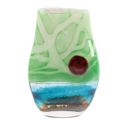 Blue and Green Blown Art Glass Vase