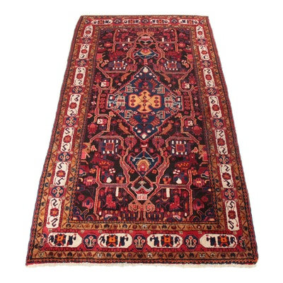 5' x 10' Hand-Knotted Persian Nahavand Pictorial Rug, 1970s