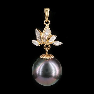 18K Yellow Gold Black Pearl Pendant with Diamond Accents